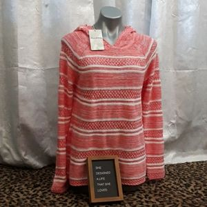 Tommy Bahama Linen Striped Knit Hoodie Sweater NEW